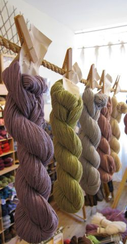 Hang yarn skeins with clothespins
