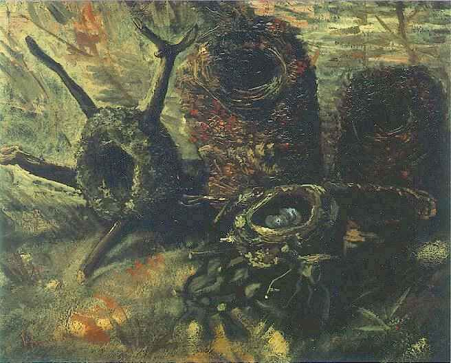 Still Life with Birds' Nests  Oil on canvas  39.3 x 46.5 cm.  Nuenen: late September-early October, 1885 and 1886-87
