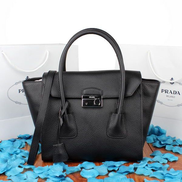Prada Glace Calf Leather Flap Bag Bn2665 Black