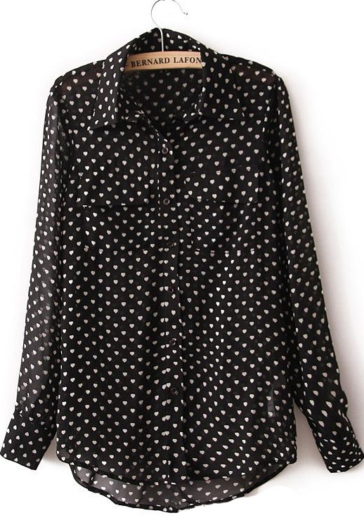 Love shirts likes these: Black Long Sleeve Heart Polka Dot Chiffon Blouse