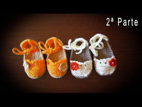 Como hacer alpargatas o esparteñas de bebe en crochet  paso a paso (PARTE 2) - YouTube