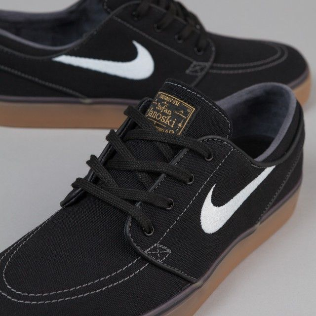 7feeacfcf2252 Nike SB Stefan Janoski Canvas Shoes - Black White-Metallic Gold-Gum Light  Brown