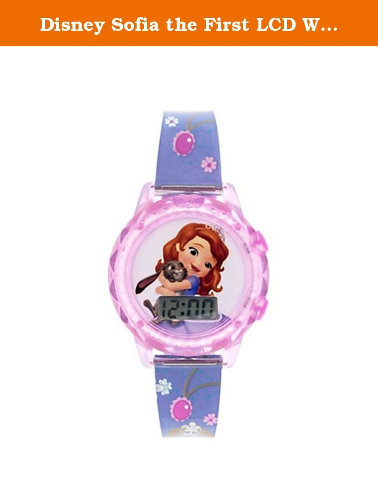 Disney Sofia the First LCD Watch. Have a royal time with our Pink Sofia the First Watch! Featuring Sofia the First hugging Clover the Rabbit and a floral wrist band, this pink and purple watch makes a perfectly regal gift or party prize. The LCD digital watch display is easy for little princesses to read. Battery and instruction manual included. Pink Sofia the First Watch is adjustable from 5 1/2in to 7in.