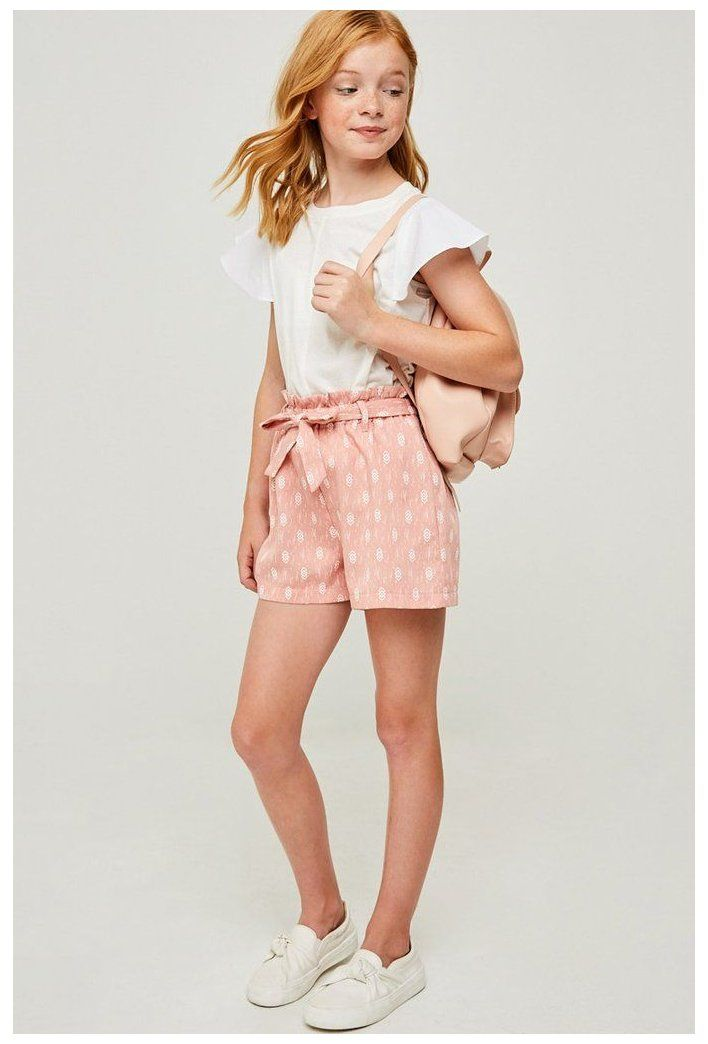 Printed Paperbag Tie Shorts Cute Girl Outfits For 10 Year Olds Summer Cutegirloutfits In 2021 Cute Outfits For Kids Girls Summer Outfits Girls Fashion Clothes