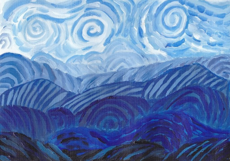 """""""Blue Mountains""""   A painting in acrylic"""