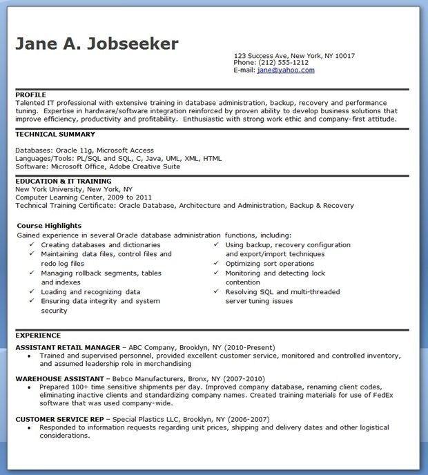 Database Administrator Resume Entry Level Resume Design Resume Design Template Resume Template Free Resume Design