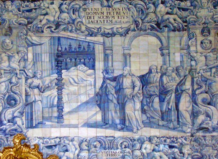 www.retabloceramico.com  Visitar a los enfermos es otro de los grandes paneles situados en el interior de la Iglesia de la Misericordia de Viana do Castelo