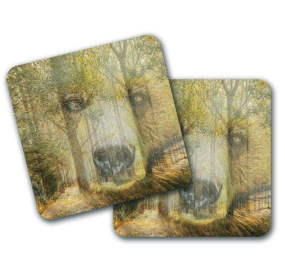 Set of 4 Bear Woods Design Coasters by LookNFindLtd on Etsy