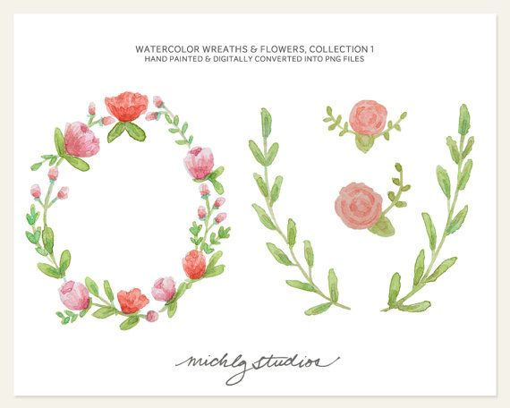 Watercolor Digital Clip Art 4 PNG Hand Painted by michLgstudios