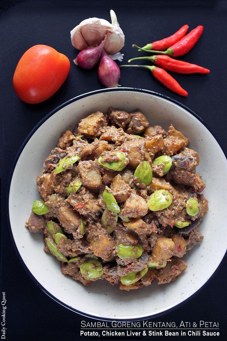 Sambal Goreng Kentang, Ati, dan Petai – Potato, Chicken Liver, and Stink Bean in Chili Sauce