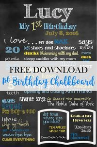 A free template for creating a gorgeous Happy Birthday Chalkboard to celebrate your baby's first birthday. Simply download fonts, edit, and print.