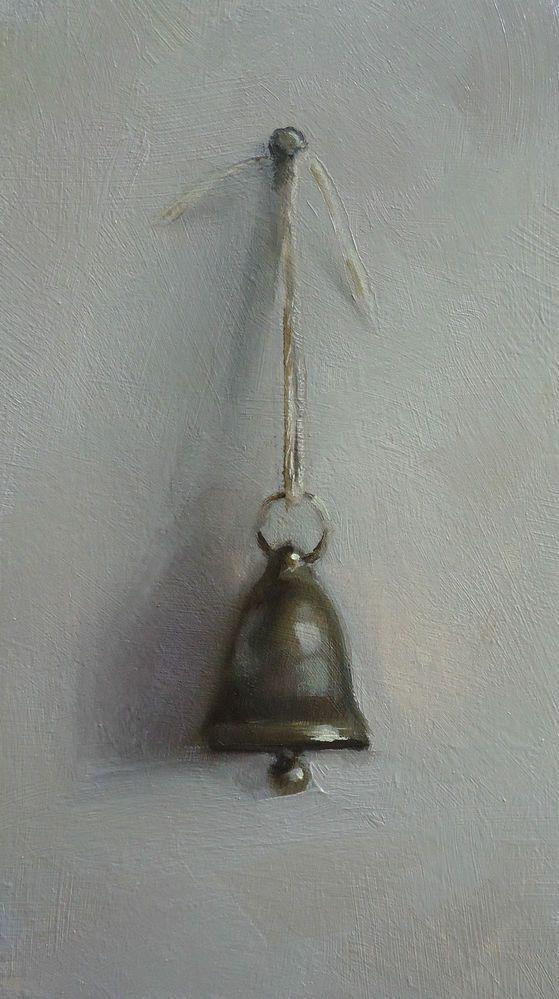 Original Oil Painting - Bell on a String - Contemporary Still Life Art - Nelson