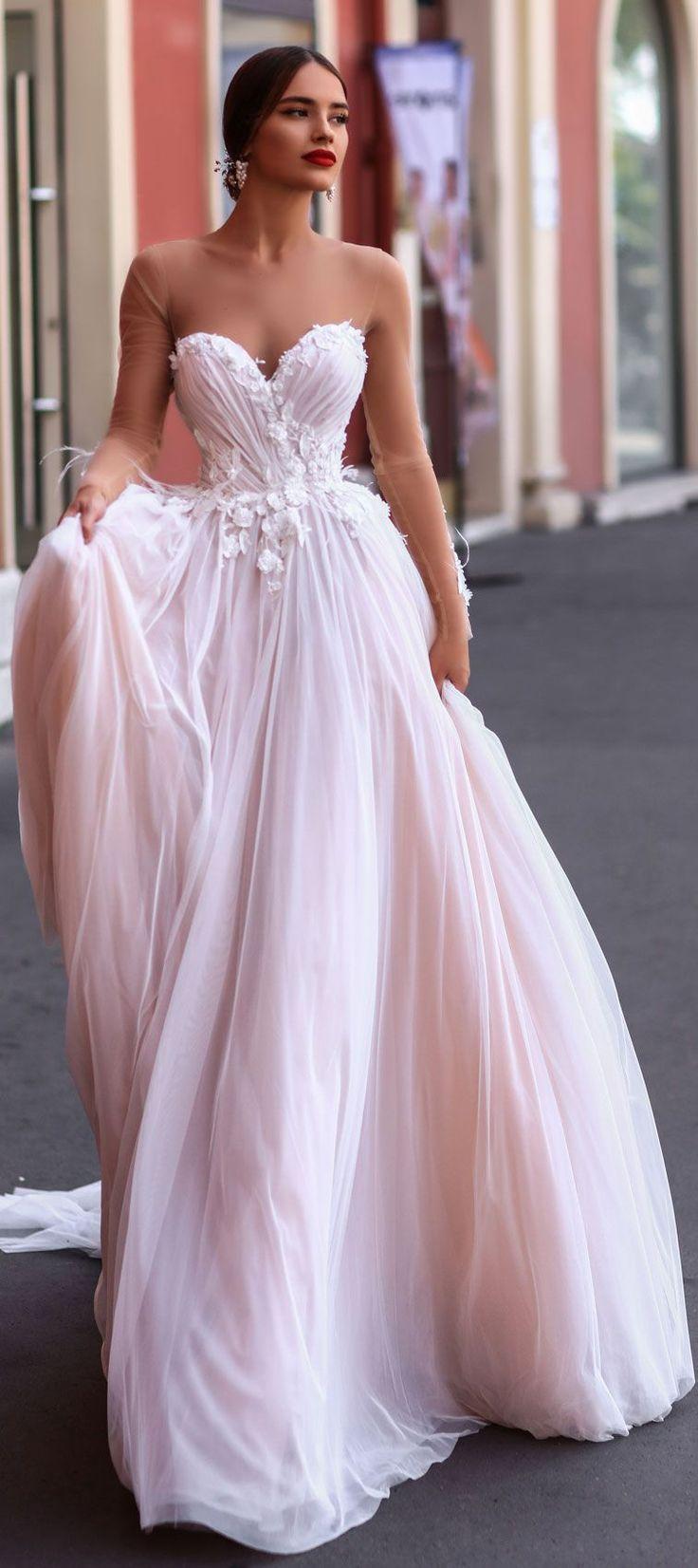 Katherine Joyce 2018 Wedding Dresses illusion long sleeve sweetheart a line wedding gown