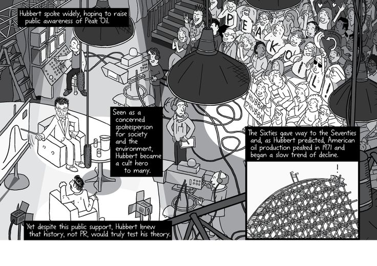 Comic artwork of a guest on a television set from a high angle. Talk show audience watching a host and guest talking in front of television cameras and lighting. High angle view above the TV set.  Image from Stuart McMillen's comic Peak Oil (2015), from the book Thermoeconomics (2017).