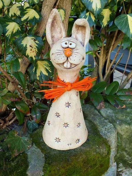 Rabbit Easter Fence Stool Rose Ball Garden Ceramics by Terra-Cottage on DaWanda….
