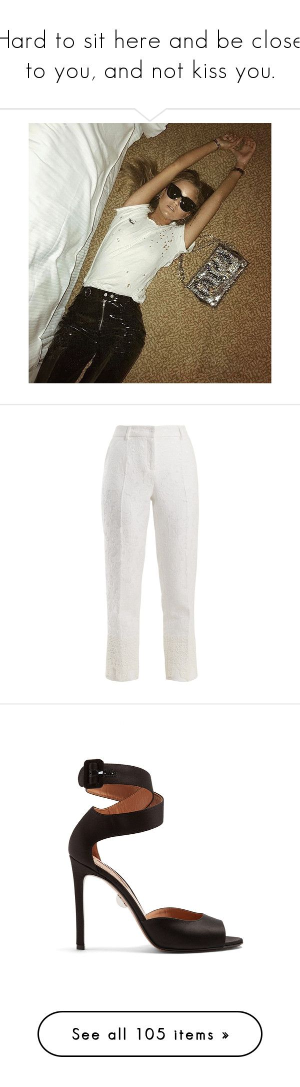 """""""Hard to sit here and be close to you, and not kiss you."""" by lucieednie ❤ liked on Polyvore featuring pants, bottoms, white, high-waisted trousers, white skinny pants, high waisted white pants, white pants, high rise pants, outerwear and coats"""
