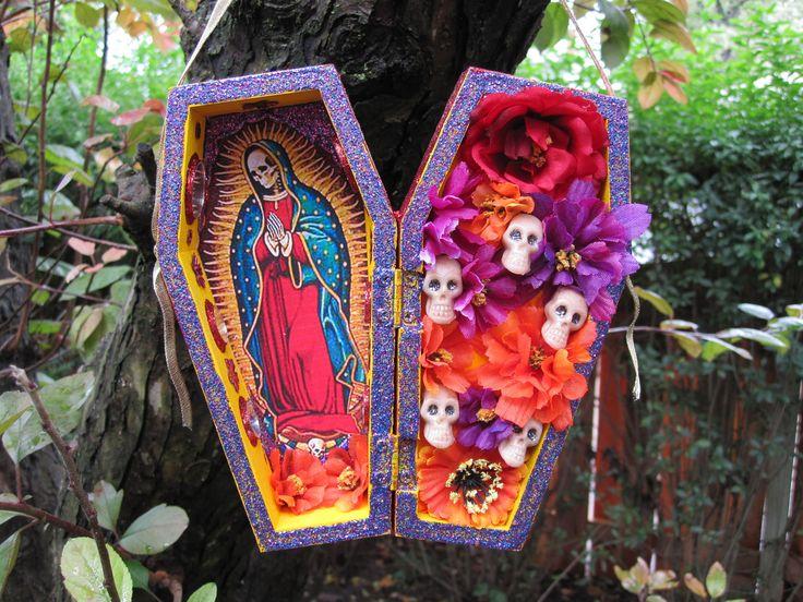 Santa Muerte nicho, alter, folk art, Mexican, Day of the Dead.