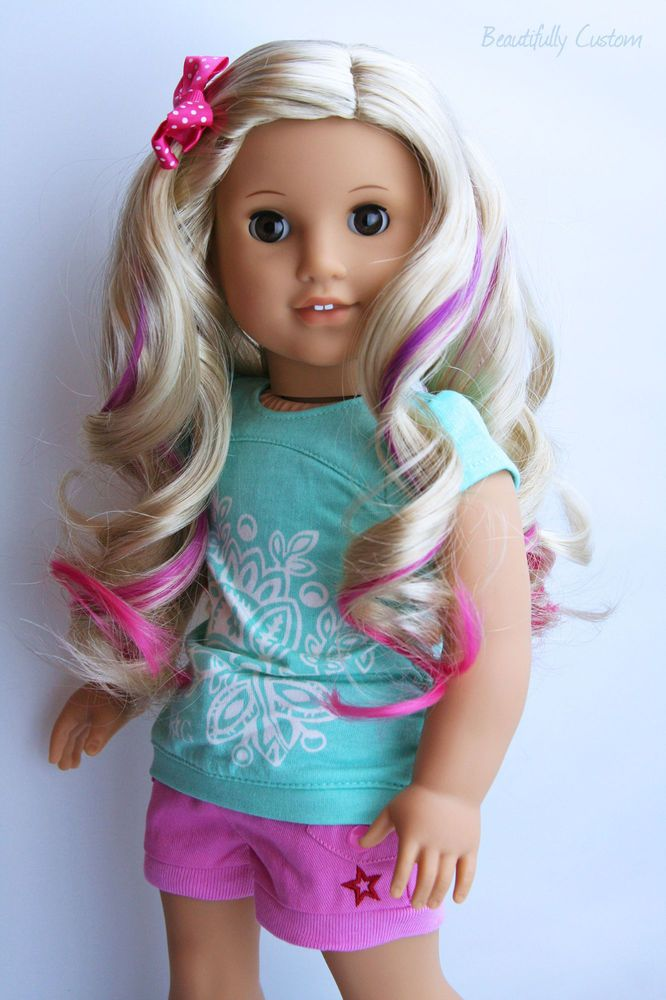 American Girl Doll Disney Hairstyles : Custom american girl doll with pink highlights curly