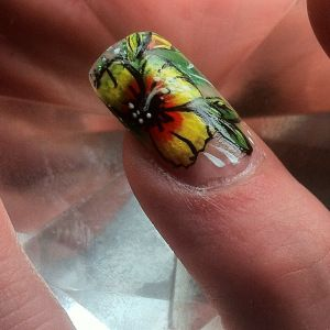 beautiful Floral one stroke nail art design