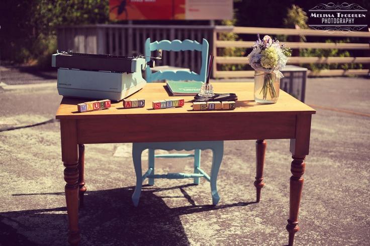 A Vintage & Pretty registry table. Furniture & props: vintageandpretty.co.nz Venue: Heritage Lawn, Zealandia Photography: www.melissathornburnphotography.co.nz