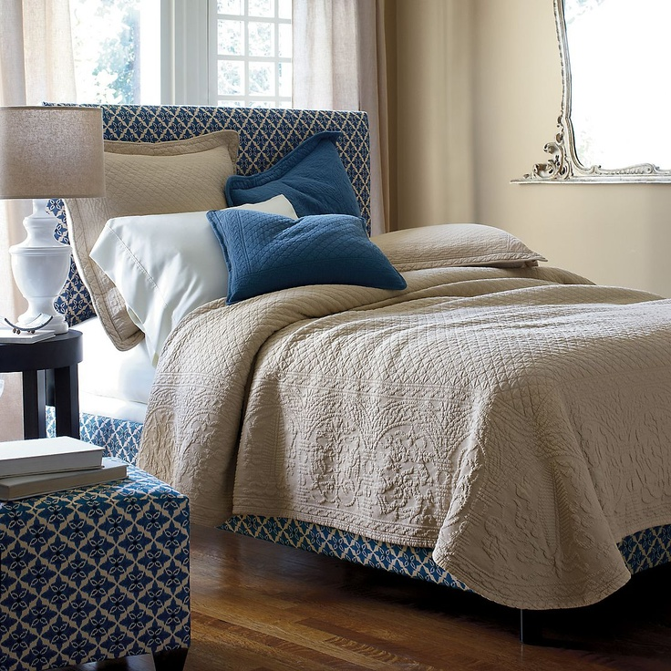 Great play between the woven design of the Matelassé cotton bedding and the pattern of the bed and ottoman!Guest Room, Mary Matelasse, Decor Ideas, 2Nd Bedrooms, Master Bedrooms, Company Stores, Bedrooms Inspiration, Matelasse Coverlet, Bedrooms Ideas