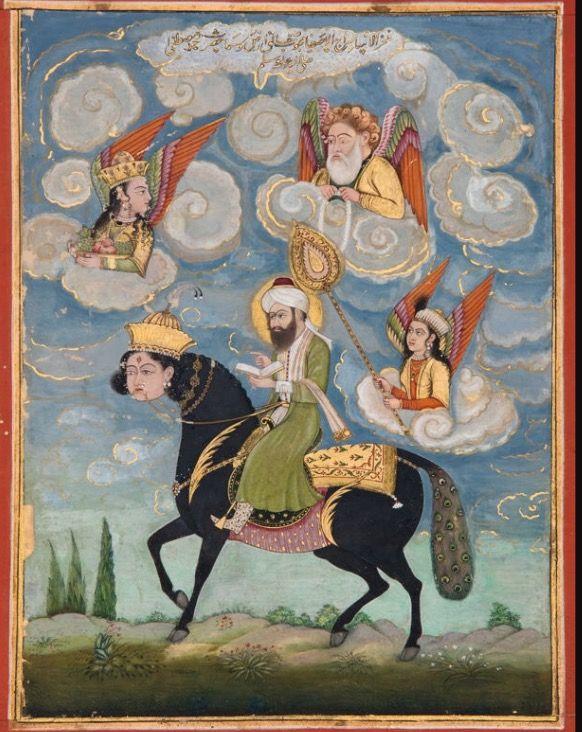 Profeet Mohammed in Burâq, Lucknow, Uttar Pradesh, India 1820-1830 waterverf en goud op papier Art Gallery SA, Adelaide