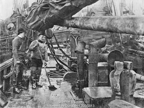 Deck of a fishing vessel, circa 1890