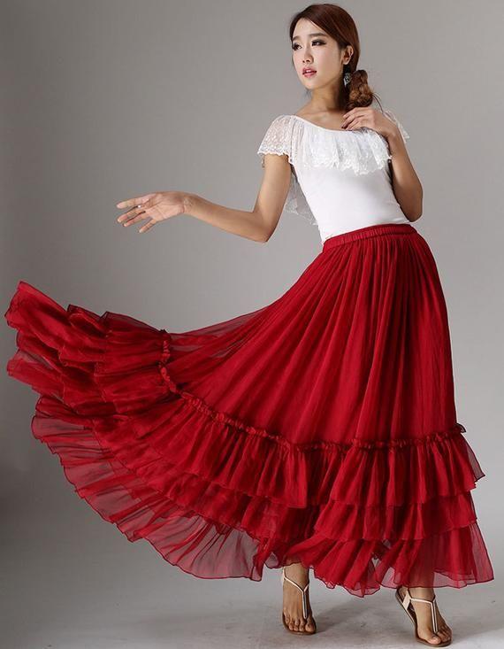 Elegant Pleated Formal Occasion Party Metallic Full Long Skirt M L XL 1X 2X
