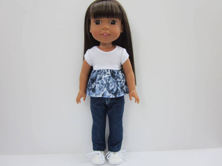 """White and blue print peplum top and blue denim straight leg jeans for 14"""" doll such as Wellie Wishers and Hearts for Hearts by HannahsDressUp on Etsy"""