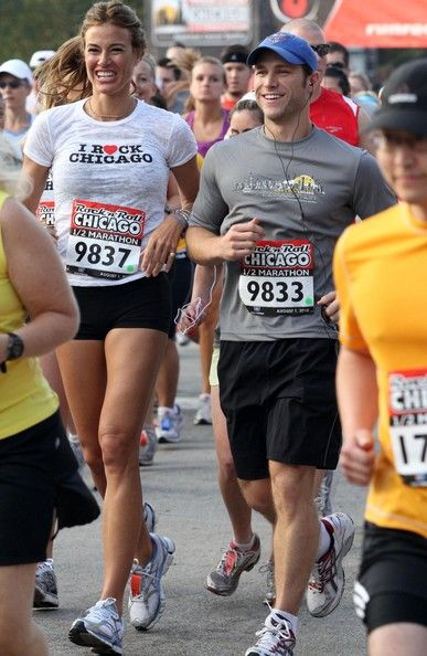 Molly Mesnick Bachelor star Jake Pavelka runs in the Chicago half marathon in Chicago, Illinois...also running was E! host Giuliana Rancic a...