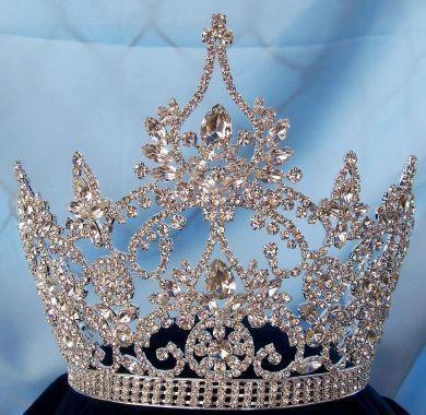 Continental Ajustable Tear Drop Silver Rhinestone Crown Tiara, CrownDesigners