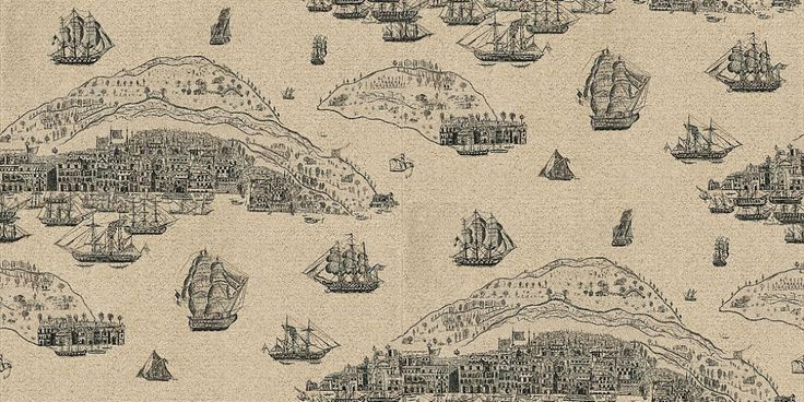 Trade Routes (TRA04001) - Zoffany Wallpapers - Based on antique map engravings, showing scenes of ships and islands.  Shown in black etching on a metallic pale silver.