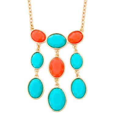 Liz Claiborne® Aqua and Coral Gold-Tone Long Necklace  found at @JCPenney