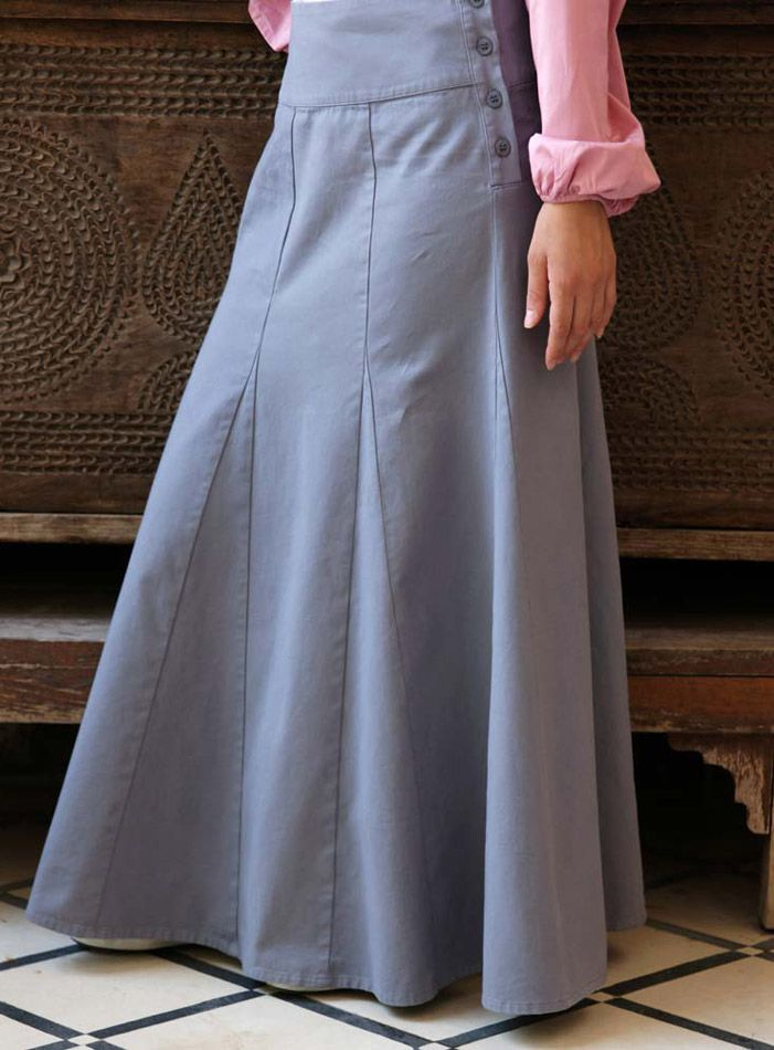 Godet Flared Skirt with Buttons