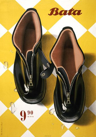 Vintage Bata Boots  Look @ those beautiful drops of water sliding of the shoes. What a joy if you can Illustrate like that. It must have been so much fun working to get those reflections and the transparency just right.