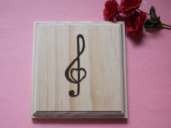 Music Note Woodburned Unfinished Wood Plaque by MumkenzGiftShop