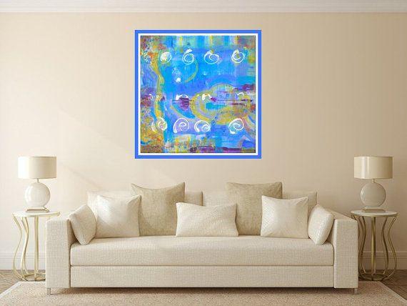 Fine art print blue yellow white giclée print by MarilionFineArt