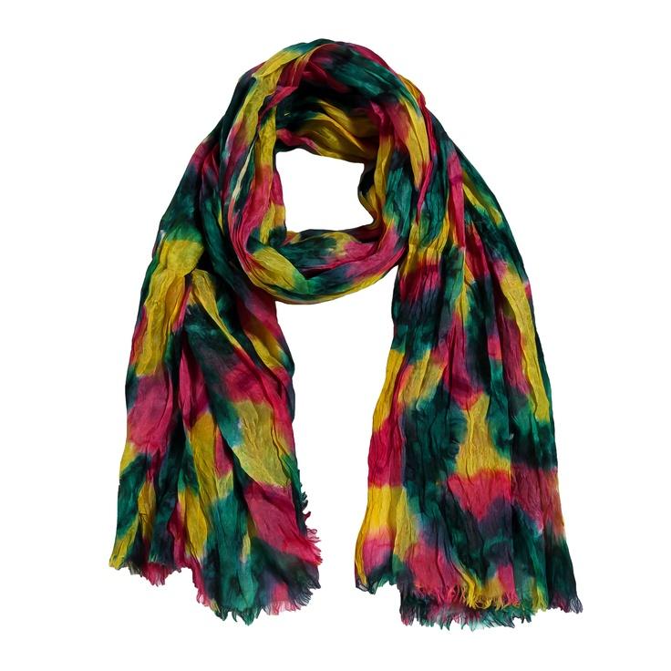 Sciarpa in seta 100% a 3 colori giallo verde e viola dall'effetto stropicciato. Made in India. Dimensioni: Lunghezza 130 cm, Larghezza 100 cm
