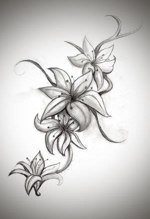 tattoo b&w lilies