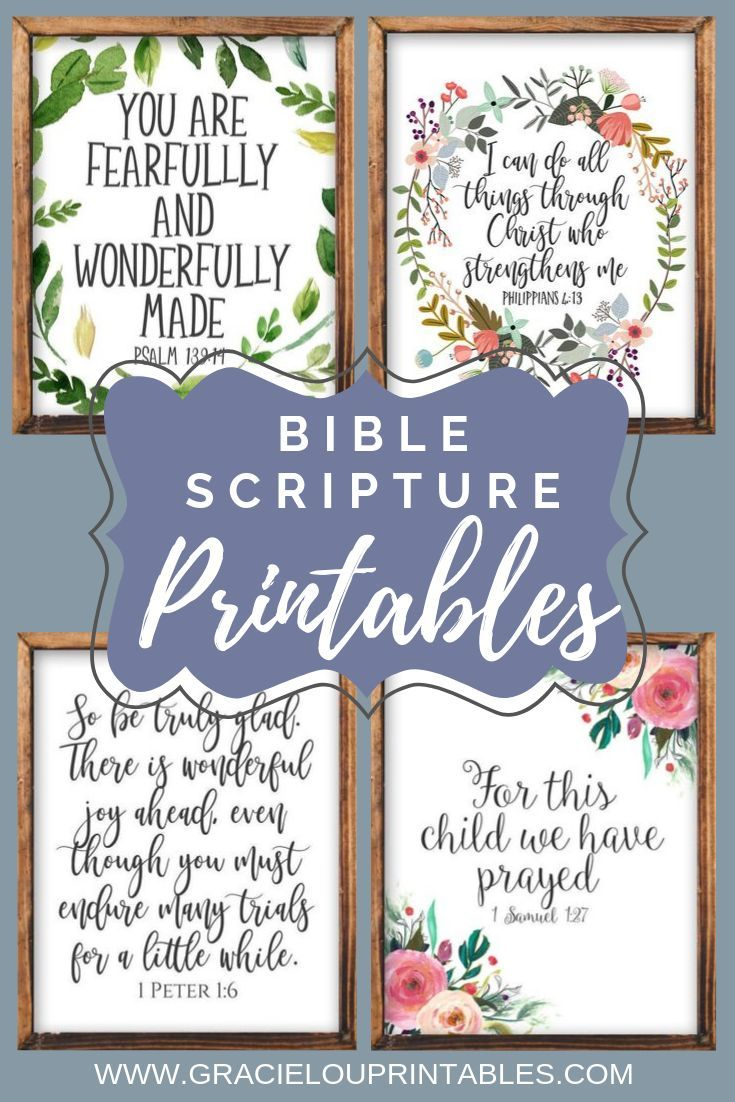 Bible Scripture Printables By Gracie Lou Printables Christian Wall Decor Diy Home Decor Bib Bible Verse Wall Decor Scripture Printables Christian Wall Decor