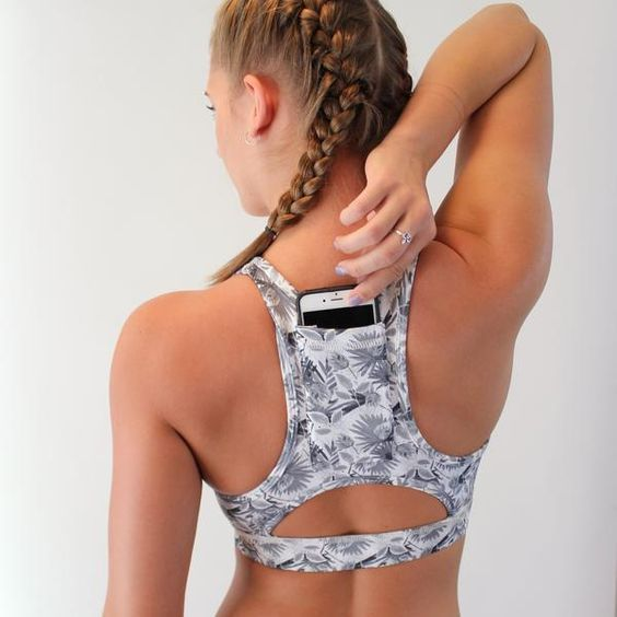 Sarah Sports Bra - Gray Escape  Includes a pocket for your phone and a beautiful floral pattern. Only $26 from www.senitaathletics.com