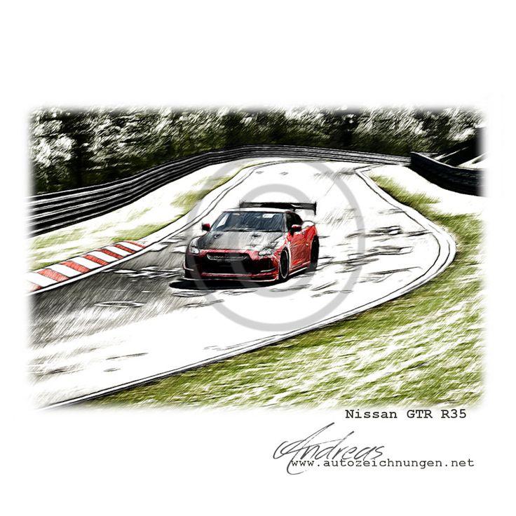 Nordschleife Nissan GTR R35 • Exclusive Zeichnung Von Www