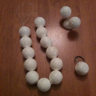 Matching necklace, earrings, and ring for my Wilma Flintstone costume for a few dollars--string, earrings, ring, and some styrofoam balls slightly sanded, spray painted white and sprinkled with glitter. Part 2 of my costume complete. Now for the dress!