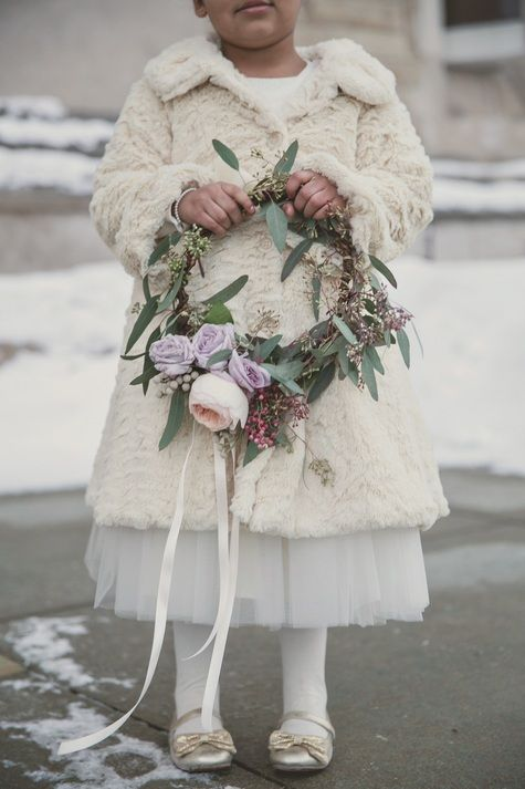 Flower Girl Fresh Flower Wreath | Heather Saunders Photography | TheKnot.com