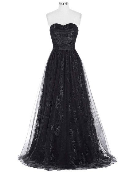 A-line Sweetheart Black Lace Tulle Ruffles Floor-length Inexpensive Formal Dresses #Formal020103532