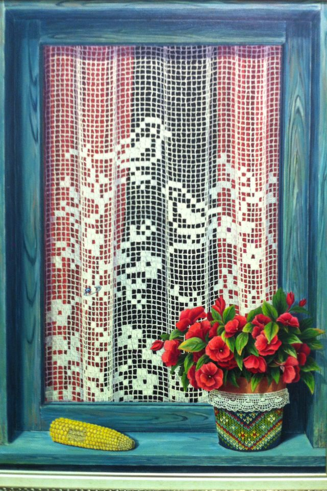 günseli kapucu...oil painting#flowers#windows#lace curtains