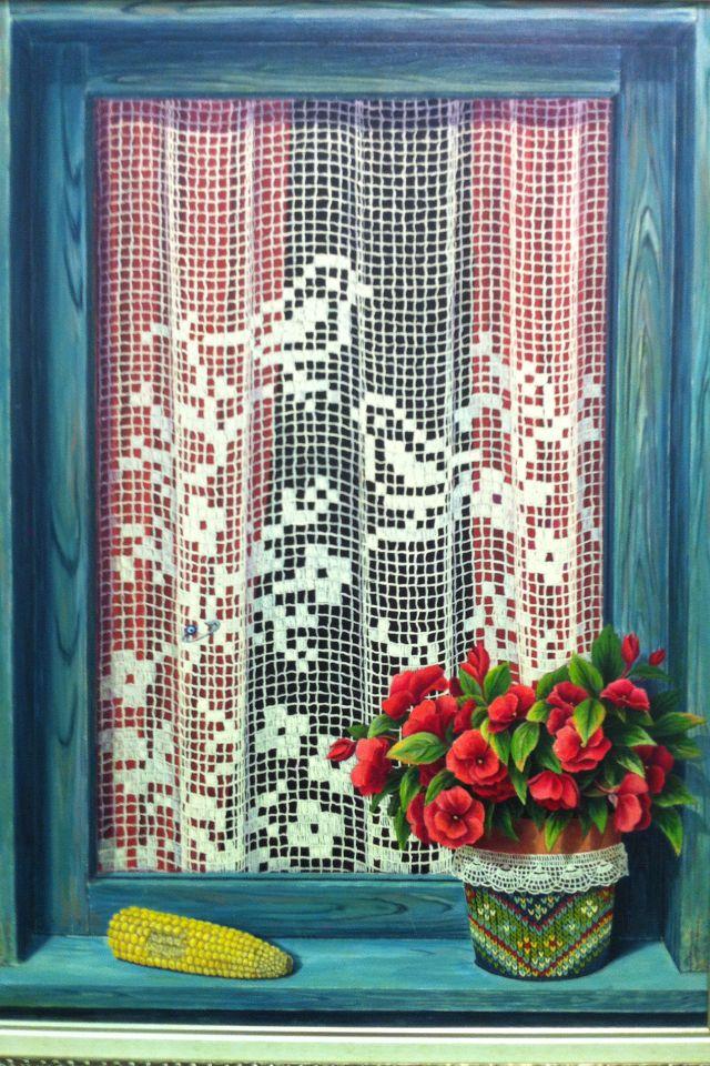 günseli kapucu...oil painting#flowers#windows#lace curtains