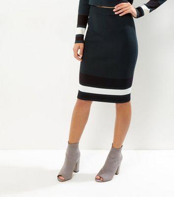 Green Contrast Stripe Skirt