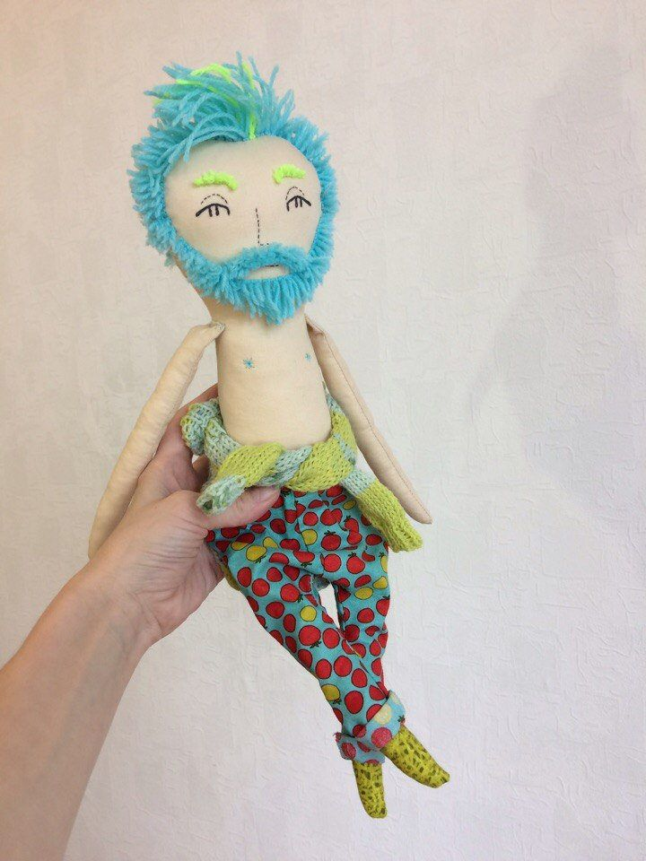 Fabric cloth doll, textile rag doll, removable clothing by KuklaMooStore on Etsy