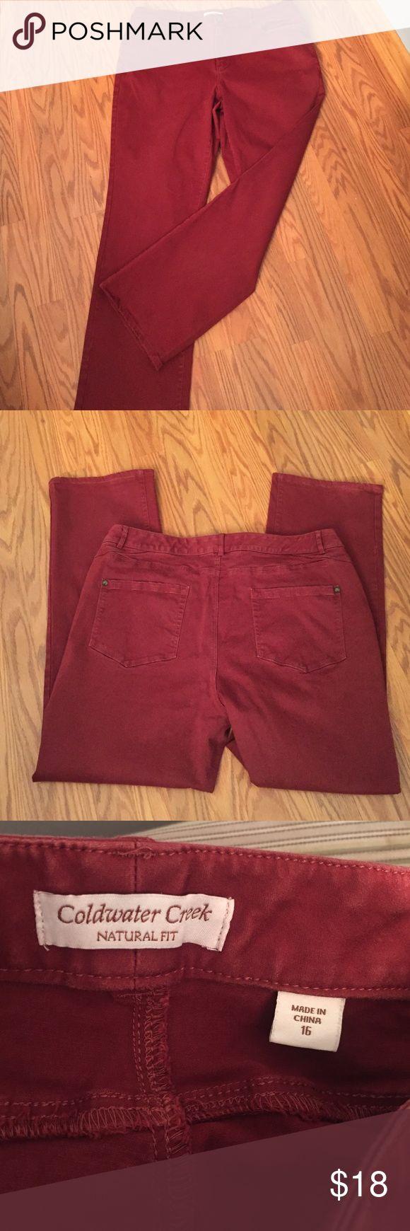 "Coldwater creek pants Coldwater creek natural fit rust color pants, inseam 28"", 80% cotton 17% rayon 3% spandex Coldwater Creek Pants Straight Leg"